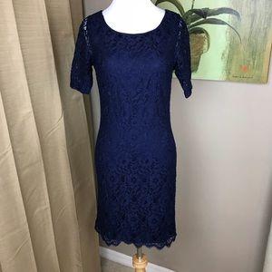 Dana Buchman Navy Blue scalloped Lace Short dress